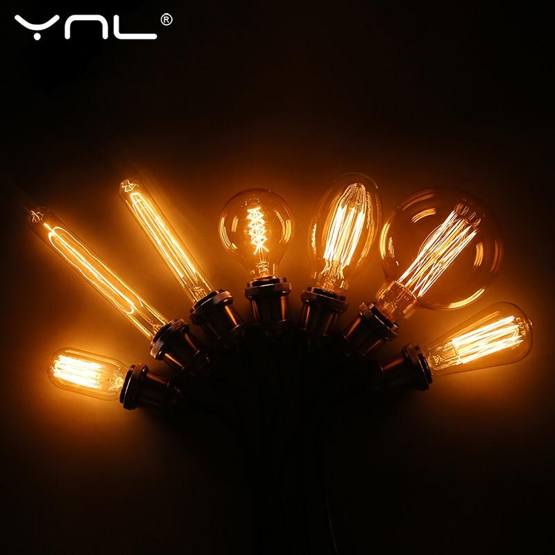 Ретро лампа Эдисона E27 220V 110V 40W ST64 G80 G95 T10 T45 диммируемая Ampoule винтажная лампа накаливания лампа Эдисона