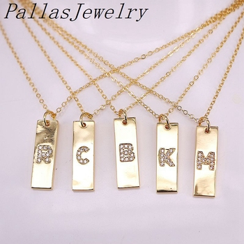 12Pcs Fashion Metal Golden Jewelry Micro Paved CZ Zircon Charms 26 Letter Alphabet Pendant Necklace