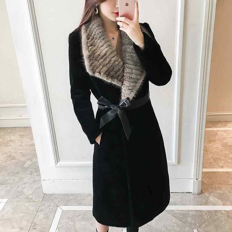 2019 Gugur Musim Dingin Baru Wanita Asli Mink Bulu Bulu Mantel Nyata Domba Bulu Pakaian Luar Perempuan Gunting Domba Bulu Mantel Panjang Slim jaket A36