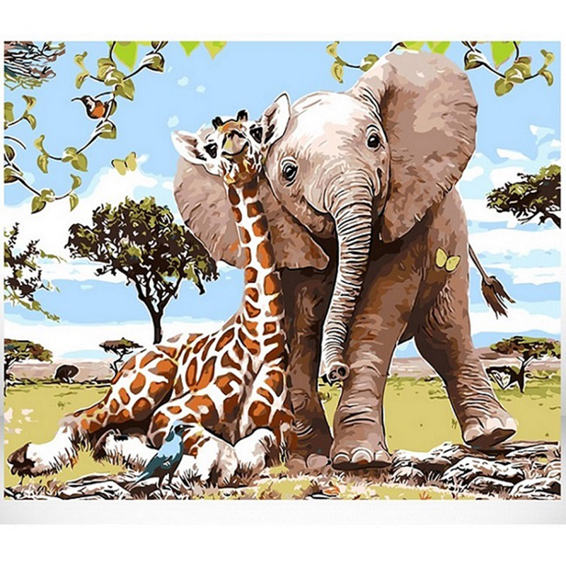 GATYZTORY DIY Painting By Numbers Elephant And Giraffe HandPainted Oil Painting Drawing On Canvas Wall Decor