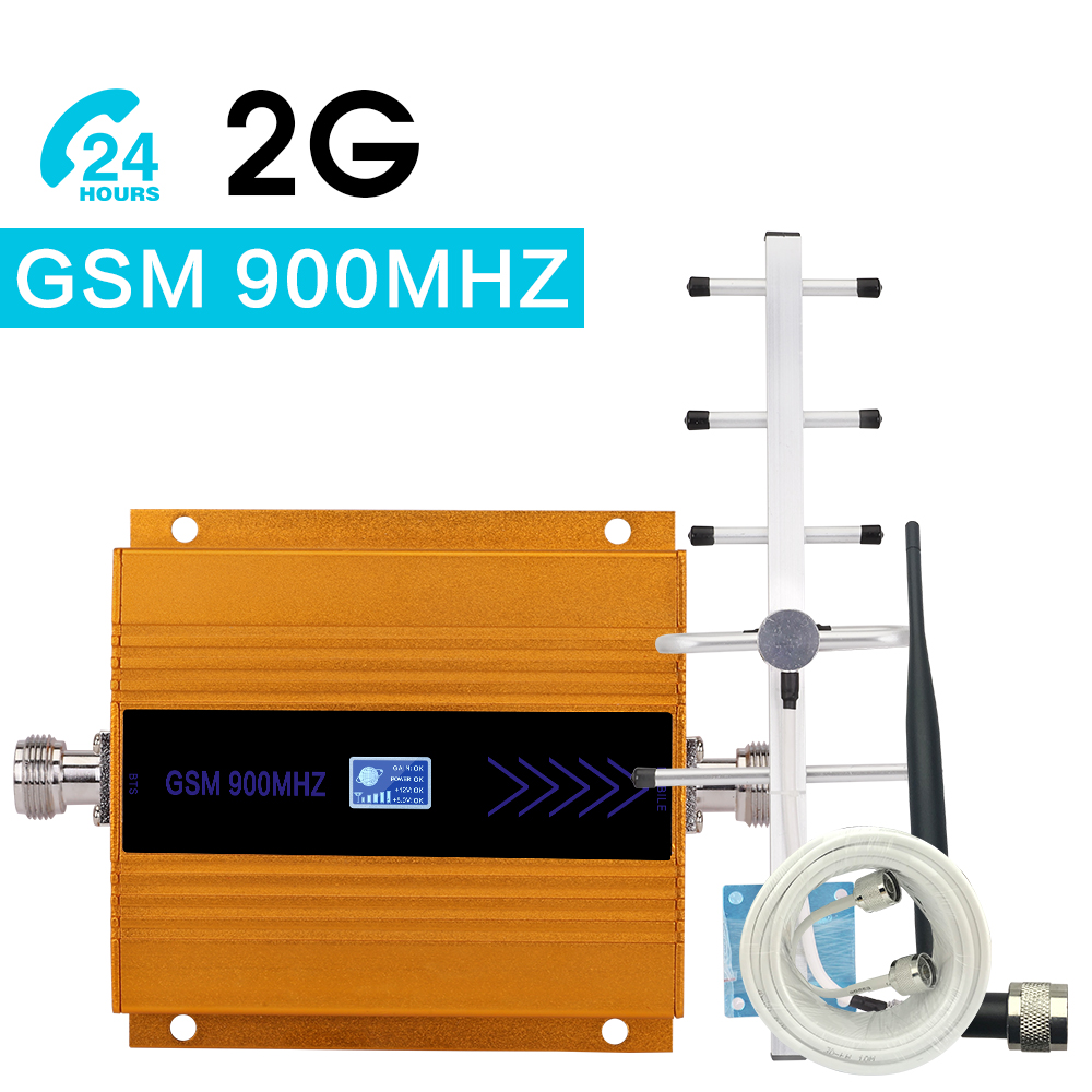 Walokcon Mini GSM Repeater 900MHz Cell Mobile Phone GSM 900 Signal Booster Amplifier + Yagi Antenna + 10m Cable With LCD Display