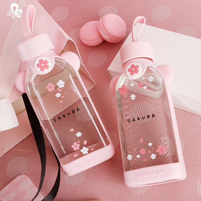 Cherry Blossom Glass Drinking bottle