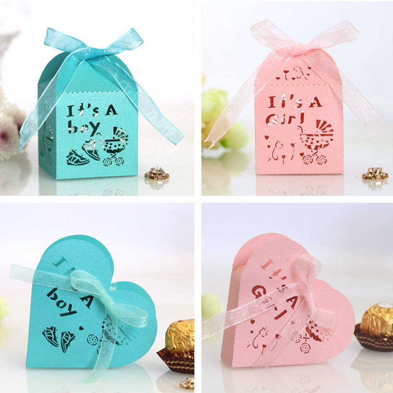 50pcs Its A Boy Girl Hollow Heart Candy Dragee Gift Box Packaging Wedding Cardboard Chocolate Cookie Gift Bags Wrapping Paper