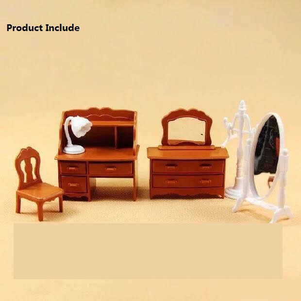 Happy Family Living Room Furniture Figures Dolls Toy Mini Furniture Miniature Dollhouse Pretend Child's Children Toy Gift
