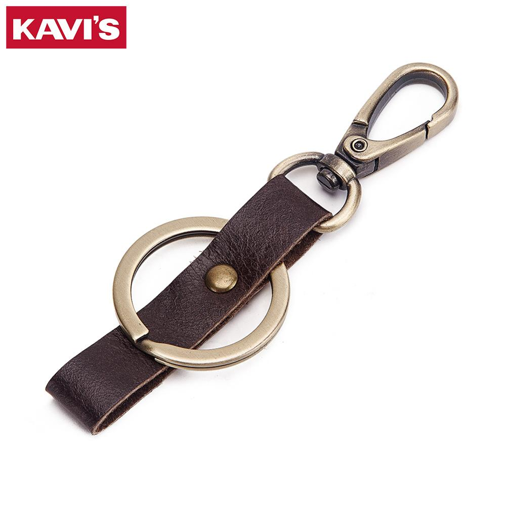 KAVIS Key Cover 100% Genuine Leather Keychain Men Gift Car Key Chain