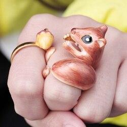 Anneau d'animal de cygne d'écureuil d'écureuil de pile de 3 pièces/ensemble pour des femmes ouvrent l'ensemble d'anneaux de manchette