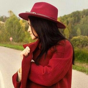 Image 2 - Mens Top Hats Felt Women Fedora Hat Winter Imitation Woolen Female Felt Hat Classic British Jazz Streetwear Top Hats for Men