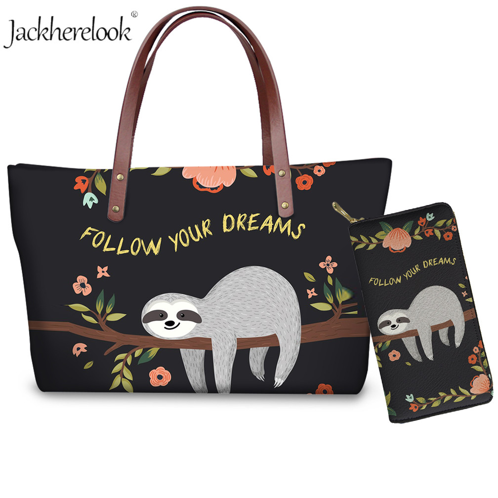 Cute Sloth Shoulder Tote Bag For Women <font><b>Follow</b></font> Your Dream Brand Designer Women Luxury Handbags&Purse Lady <font><b>Top</b></font>-Handle Travel Bolsa image