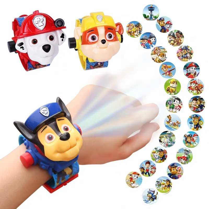 Paw Patrol Toy Digital Watch Projection 24 Style Cartoon Patterns Time Clock Action Patrulla Canina Toy Children Birthday Gift