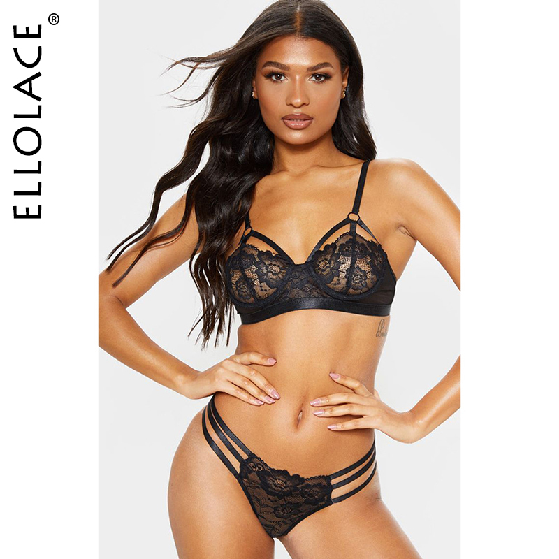 Ellolace Sexy Lace Underwear Women Lingerie Set Mesh Bra Party 2 Piece Set 3 Color Female Fitness 2020 Sexy Cloth Wholesale