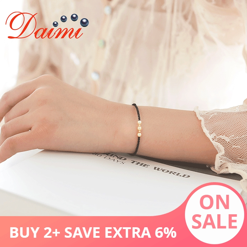 DAIMI Exquisite Small Spinel Bracelet 3.5 4mm Akoya Pearl Bracelet Pure 18K Gold Authentic Female Luxury Bracelet-in Bracelets & Bangles from Jewelry & Accessories    1