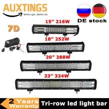 3 שורות 15 18 20 23 216w 252w 288w 324w LED עבודת אור בר 7D Offroad קומבו 12v 24v עבור מכונית טרקטור משאית SUV טרקטורונים סירת