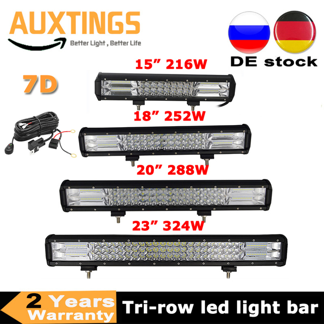 3 Rows 15 18 20 23 216w 252w 288w 324w LED Work Light Bar 7D Offroad Combo 12v 24v for Car Tractor Truck SUV ATV Boat