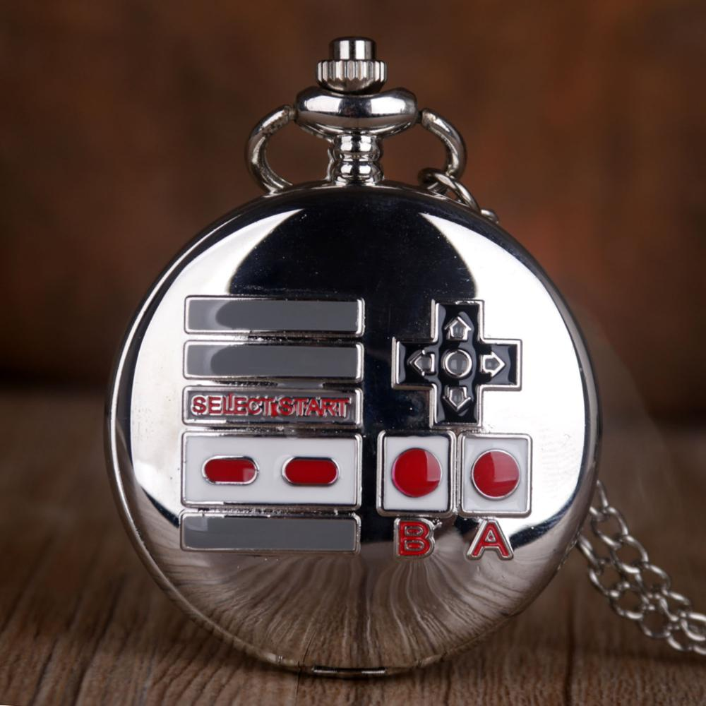 New Fashion Gamepad Theme Quartz Pocket Watches Silver Necklace Pendant Pocket Watch Gifts For Men Women Game Fans Collectibles