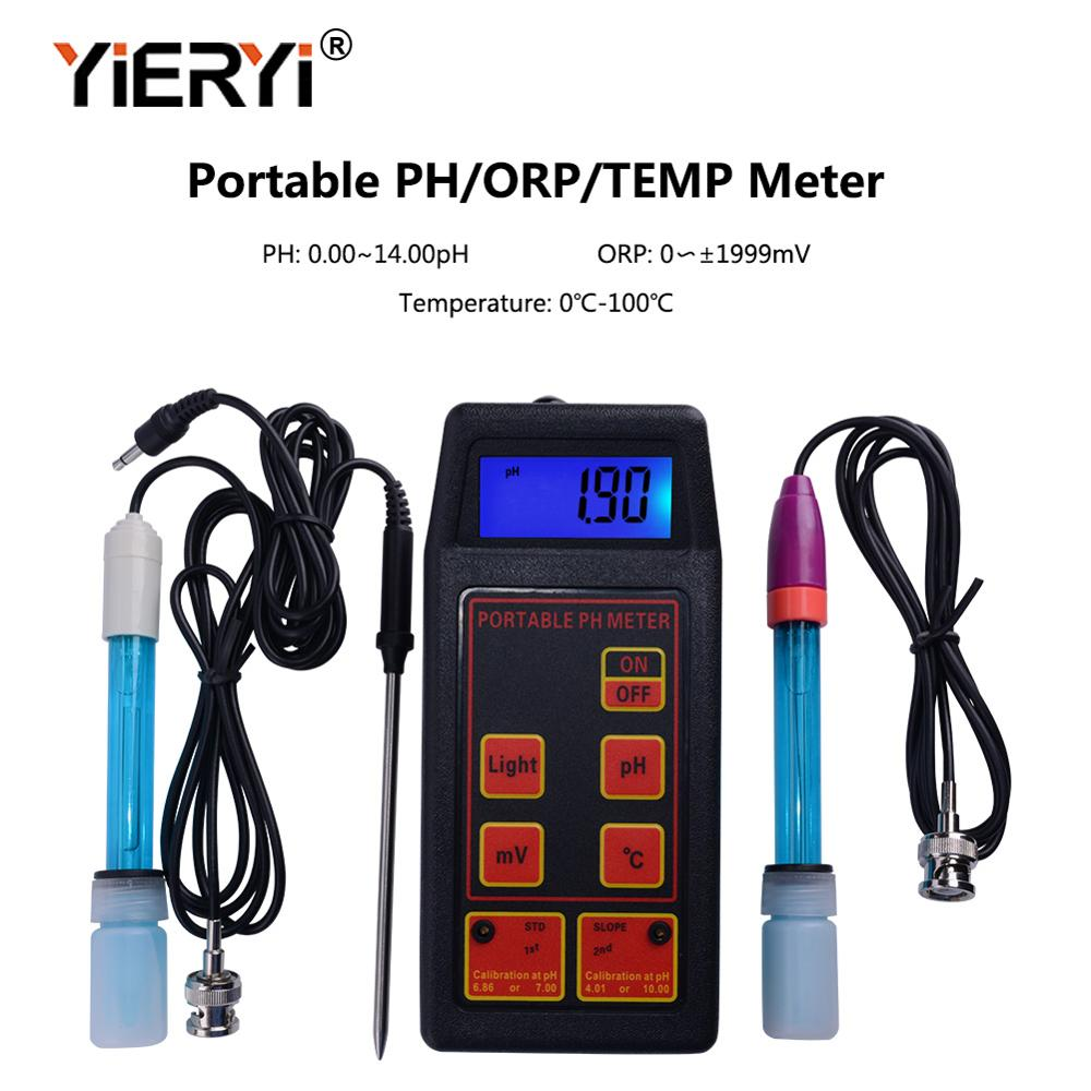 yieryi 3 in 1 High Accuracy Portable pH mV Temp Meter Replaceable pH ORP Electrodes Temperature