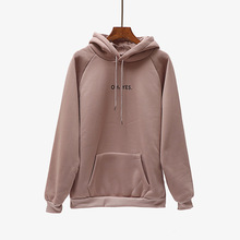 Long Sleeve Hoodies Sweatshirt Ladies Velvet Padded Hood Womens Letter Print Pocket Hoodie Casual Pullover Sweatshirts contrast tape letter print velvet tee