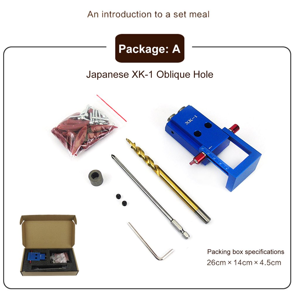 XK-1 Mini Pocket Hole Jig Kit Oblique Hole Locator For Wood Working & Joinery And Step Drill Bit & Set Wood Work Tool