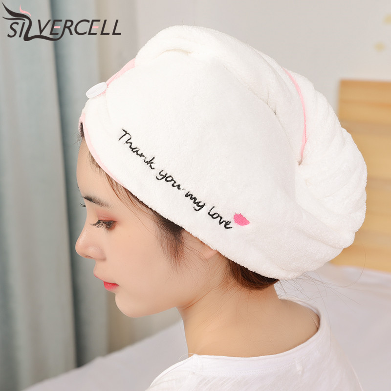 Shower Cap Girl Must-have Quick-drying Hair Cap Absorbent Towel Hat Cartoon Letter Cap Hair Towel Soft Head Wrap For Adults