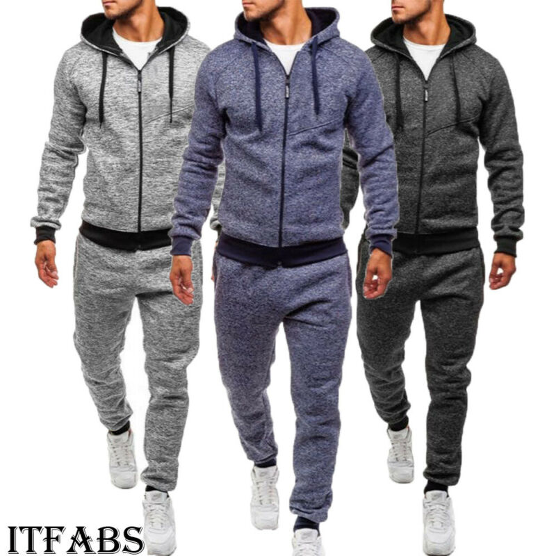 3 Colors Men Casual Fashion Set Male Autumn Winter Sports Tracksuit Gym Jogger Zipper Upper Hoodie Pants Trousers Casual Set