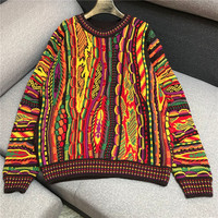 Luxury Brand Designer Knitted Pullovers for Women Vintage O Neck Handwork Crochet Seven Colors Striped Loose Knitted Sweater