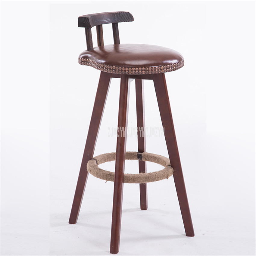 Rotatable Bar Chair Stool Solid Wood 4 Leg Dining Chair Bar Counter Chair High Footstool With Low Backrest Commercial Furniture