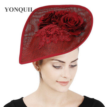 Marron Vintage Party Flower Hat Women Wedding Fasinator With Lace Show Race Headpiece With Hair Clip Gorgeous Chic Millinery image