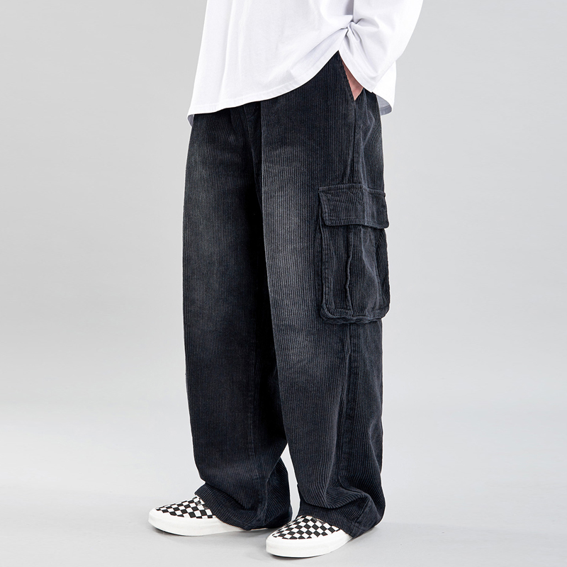 Corduroy Trousers Mens Old School Multi-pocket Cargo Pants Men Casual Thick Baggy Straight Elasticated-waist Wide-Leg Black Pant