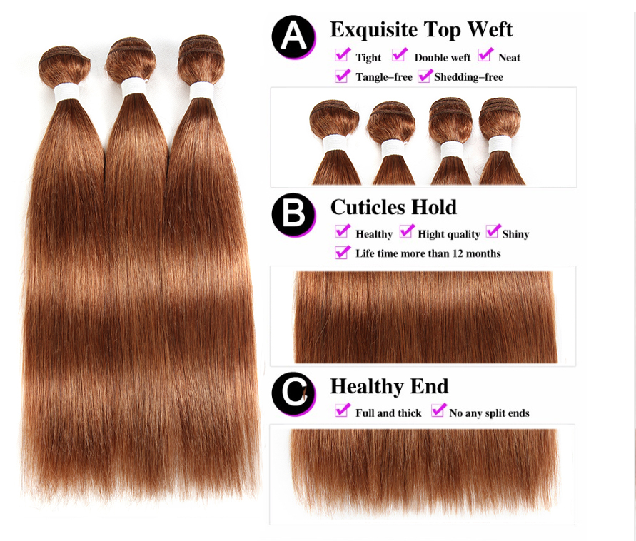 Image 4 - Brazilian Straight Human Hair Bundles With Closure KEMY HAIR 3PCS Brown Hair Weave Bundles With Closure Non Remy Hair Bundles-in 3/4 Bundles with Closure from Hair Extensions & Wigs