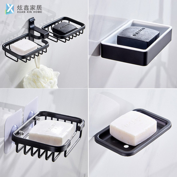 Black Soap Dishs Wall Mounted Space Aluminum Sucker Soap Holder Strong Non Marking Storage Shelf Bathroom Accessories