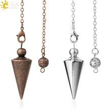 CSJA Cone Metal Pendulum for Wicca Antique Copper Gold-color Spiritual Pendulo Radiestesia Healing Pendule Hot Sale Jewelry G336