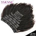 YVONNE 4B 4C Kinky Coily Clip In Human Hair Extensions Full Head 32 Clips 10 Pieces/Set Brazilian Virgin Hair Natural Color