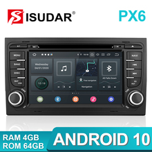 Isudar PX6 2 Din Android 10 Car Multimedia Player GPS DVD For Audi/A4/S4 2002 2008 Automotivo Radio Hexa Cores RAM 4GB ROM 64GB