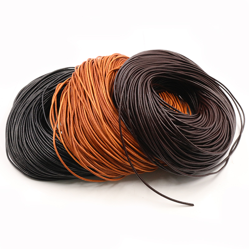Rope-String Thong-Cord Findings Diy Bracelet Jewelry-Making Round Genuine-Cow-Leather