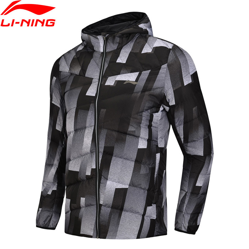 (Break Code)Li-Ning Men Training Down Jacket Hooded Polyester 90% White Duck Down Li Ning LiNing Warm Sport Coats AYMN049 MWY304