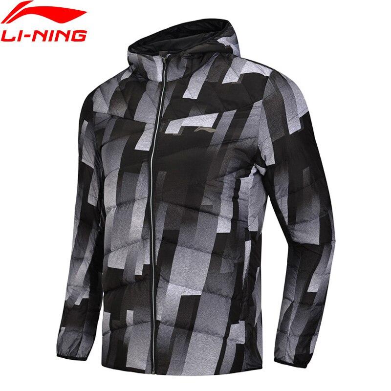 (Break Code)Li-Ning Men Training Down Jacket Hooded Polyester 90% White Duck Down Li Ning LiNing Warm Sport Coats AYMN049 MWY304