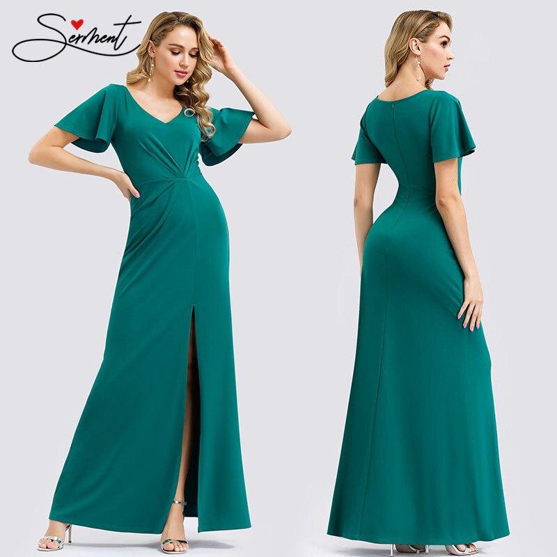 SERMENT Green Stretch-knit Top With Ruffles And Ruffled Short-sleeved Bottom Skirt  Formal Dress Women Elegant Elastic Soft