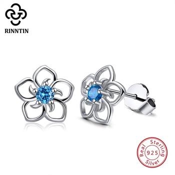 Женские серьги-пусеты Rinntin, из серебра 925 пробы с цветком и синим цирконием ААА, классический стиль, украшения для вечеринок, TSE71-L