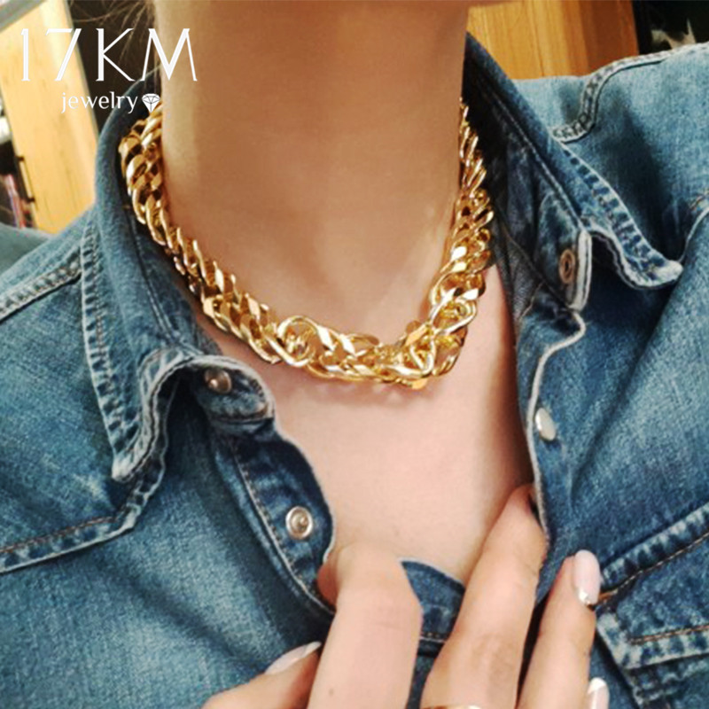17KM Cuban Gold Thick Chain Choker Necklace For Women Men Trendy Hip Hop Big Chunky Short Chain Choker Necklaces Jewelry