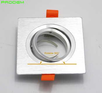 DIY KITS 6 PACK square aluminum led down light fixture brim for MR16 GU10 holder frame dia 50mm rotable led spotlight fittings