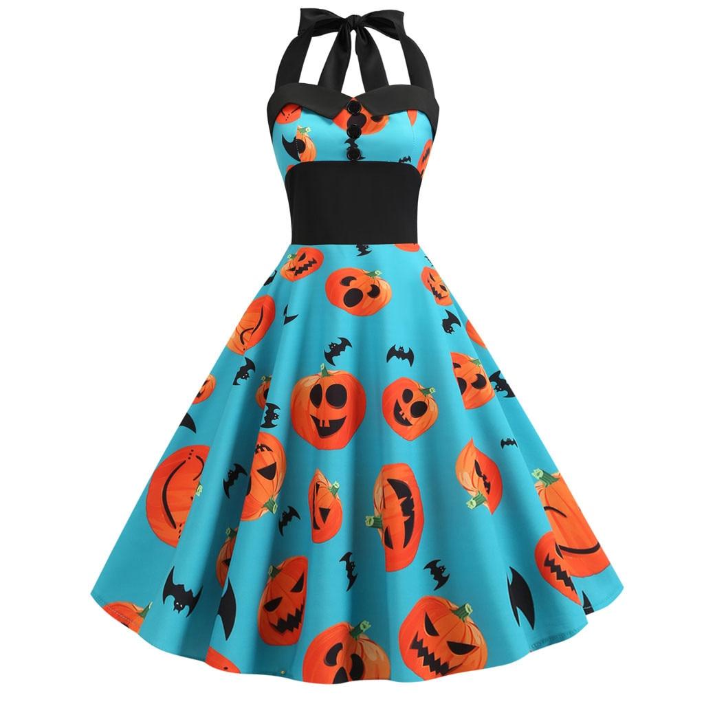 Womens Dress Vintage Pumpkin Print Halter Halloween Evening Party Swing Costumes for Women Cosplay