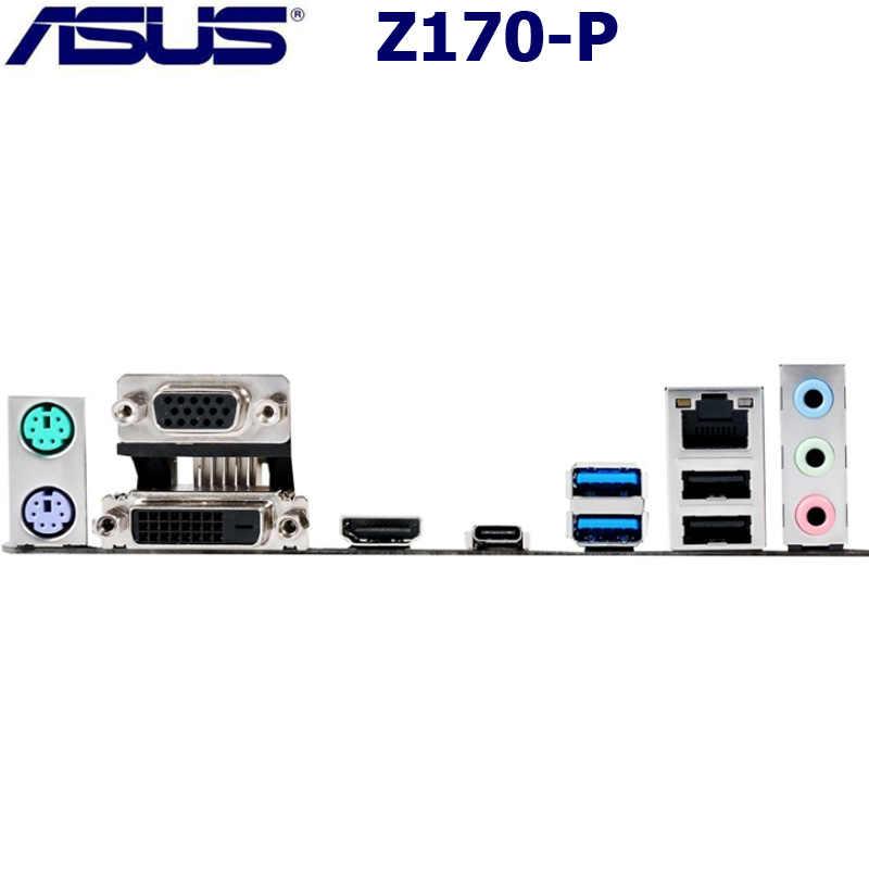 LGA 1151 DDR4 ASUS Z170-P Asli Desktop Papan Utama Intel Z170 DDR4 64GB Pci-e 3.0 USB3.1 M.2 DDR4 ASUS Z170-P mainboard Digunakan