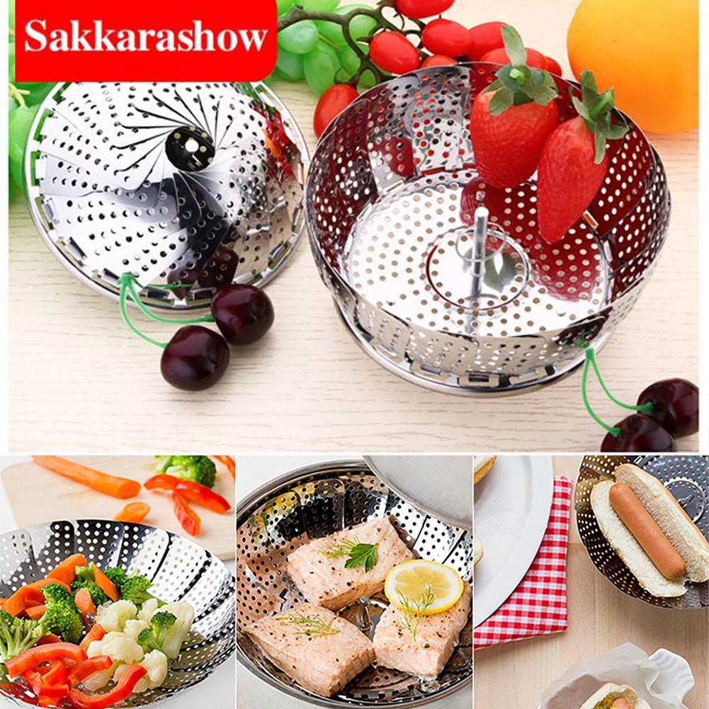 Stainless Steel Steamer Collapsible Telescopic Sink Drain Rack With Handle Kitchen Cooker Steaming Grid