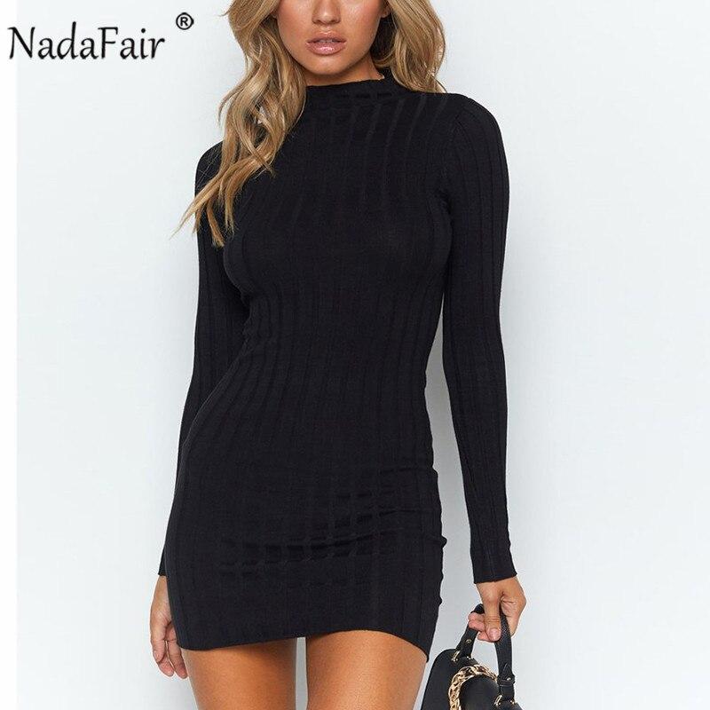 Nadafair осеннее трикотажное платье с высоким воротом и длинным рукавом, женское повседневное зимнее базовое облегающее мини-платье черного цв...
