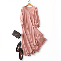 autumn winter new style pink v neck womens 100% cashmere sweater dress