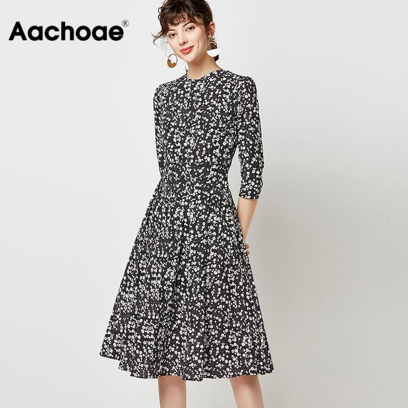Aachoae Women Round Neck Casual Pleated Dress 2020 Vintage Floral Print Midi Dress Three Quarter Sleeve Ladies Tunic Dresses