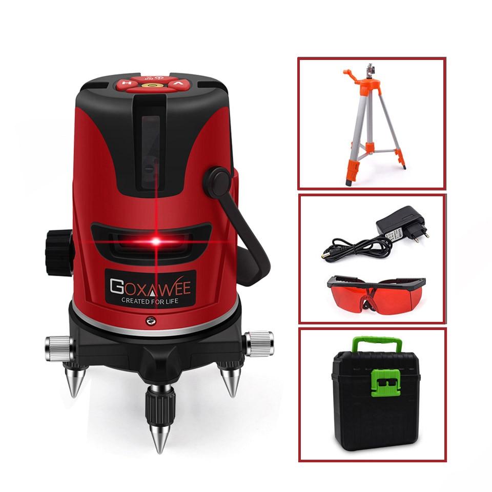 GOXAWEE, красный лазерный уровень, 360 градусов, перекрестная линия, вращающийся уровень, измерительные приборы, 5 линий, 6 точек, для строительных инструментов - Цвет: 3108-3105