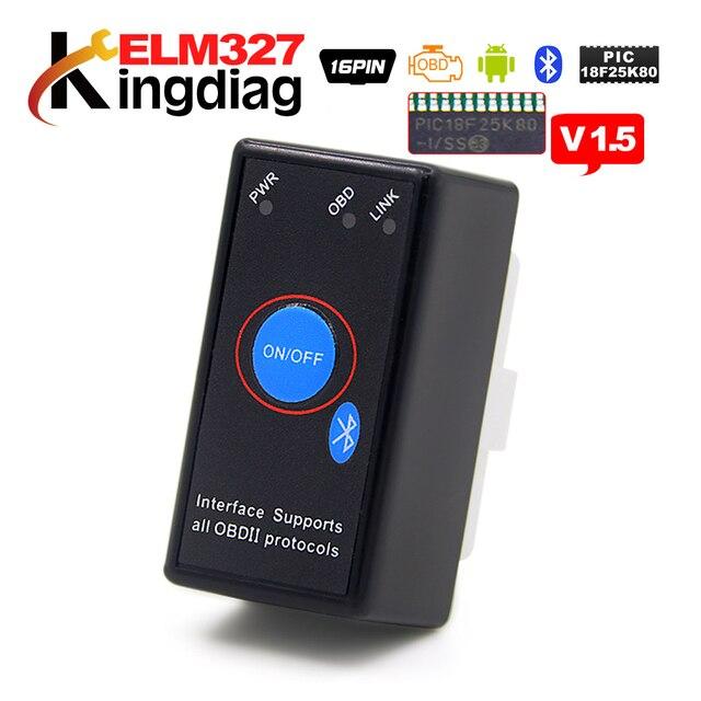 Super mini bouton elm327 v1.5 lecteurs de code de voiture, outil de Diagnostic de voiture, avec interrupteur wifi/bluetooth, prise obd2