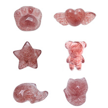 Dolphin Crystal-Stone Pixiu Hand-Carved Strawberry Rabbit Gifts Natural Fashion Cat Cute