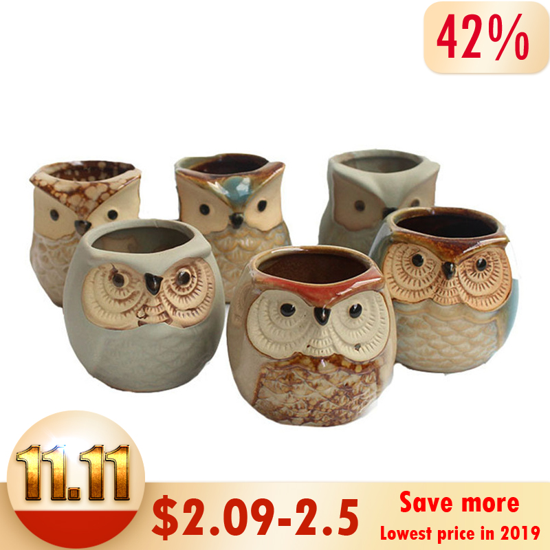 Mini Carton Style 6 Kinds Of Mini Ceramic Owl Succulent Plants Potted Flowers Planting Home Decoration Gifts / Office Decoration