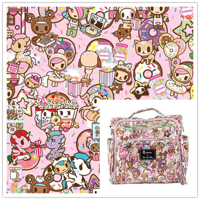 ZENGIA 50*148cm Pink Cartoon Polyester Canvas Fabric For Home Textile Sewing Diy Tablecloth/Bag/Cushion/ Sofa Cover Curtain